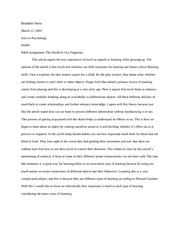 Essay - The World At Our Fingertips