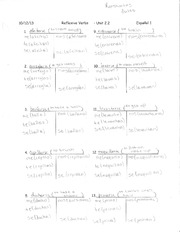 Spanish 2 Reflexive Verbs Worksheet