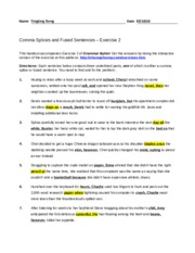 Comma Splices & Fused sentences section exercise 2 - Name ...