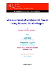 Lab 4 Measurement of Mechanical Stress using Bonded Strain-Gages