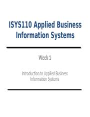 Lecture (Week 1) - Introduction to Applied Business Information Systems
