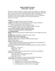 Complete Exam 1 Study Guide