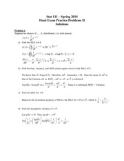 Solutions Stat 111 Final Exam Practice Problems II - Spring 2014v2