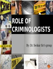 Role of Criminologists