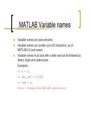 matlab 4 - MATLAB Special Variables pi eps inf NaN i and j realmin