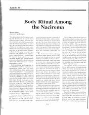 "an analysis of body ritual among the nacirema by horace mitchell miner Body rituals among the nacirema, "" by horace miner, is an essay written about the nacirema, or american people, from an outsider's perspectiveminer gives an insight on the nacireman people, which he describes in his essay as an unknown tribe, and the completing of the nacireman's magical beliefs and practices, which involve daily, involuntary body rituals that cause much pain and ."