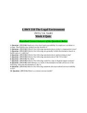 Laws 310 Week 4 Quiz Answers