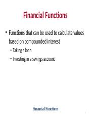 Lecture-Financial Functions--Combined