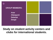 Research on student activity centers