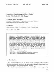 Impedance Spectroscopy of Pure Water in the 0.01 Hz to 100 kHz Range