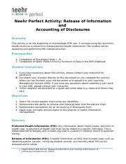 Neehr Perfect EHR Activity-ROI & Accounting of Disclosures v5 hw.docx