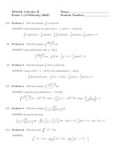Exam 1 Solution Spring 2002 on Calculus II