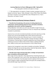 MGMT3000 Exam 2 Learning Objectives - Spring 2013