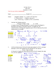 General Chemistry -Class Test 4