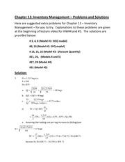 Chapter chapter 13 - Inventory - Extra problems and Solutions(1)