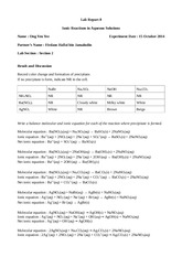 ionic reaction lab report The first lab report is on the standardization of naoh (page the net ionic equation for this process (as with any acid base reaction in aqueous solution.