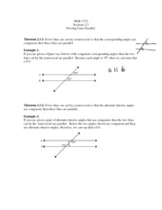 Sections 2.3 Proving Lines Parallel
