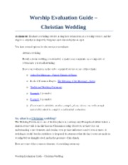 Worship Evaluation - Wedding