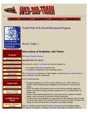 RADD 2501 WEB-RAD-TRAIN - Review Material for Interactions of Radiation with Matter