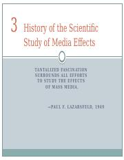 Chapter 3 - History of the Scientific Study of Media Effect
