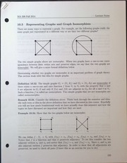 MA306 Representing Graphs and Graph Isomorphism Lecture Notes