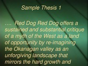 Red Dog Thesis statements