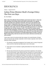 Indian Prime Minister Modi's Foreign Policy_ The First 100 Days _ Brookings Institution
