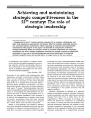 Lecture 12-Article 1(Strategic Leadership)