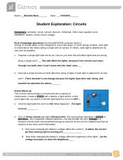 gizmos .docx - Name Date Student Exploration Circuits ...