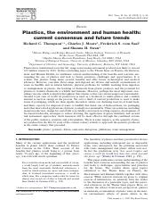 (Reading 4) Plastics, the Environment and Human Health