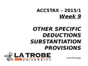 ACC5TAX S1 2015 Week 9 Other allowable deductions and substantiation