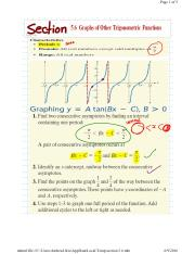 5.6 Graphs of Other Trigonometric Functions