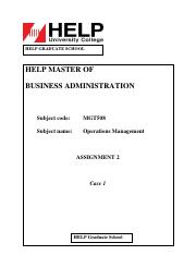 Assignment 2 (Operations Management)
