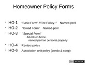"230 Class 19 - HO policy - Homeowner Policy Forms • HO-1 ""Basic ..."