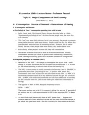 Introduction to Macro Economics lecture notes 5