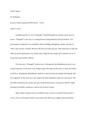 Paper Assignment 2 Draupadi or EastWest