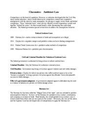 Classnotes Antitrust Law