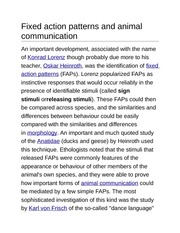 Fixed action patterns and animal communication