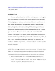 Remembrance Day Essay  Detailed Outline  Httpwwwcbccanews  Remembrance Day Essay  Detailed Outline   Httpwwwcbccanewscanadacenotaphsmonumentstoourveterans  The Glorious Dead Introduction 5 Paragraph Essay Topics For High School also English Essays Book  Sample Essay With Thesis Statement