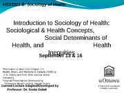LECTURE 1 - Intro to Sociology of Health