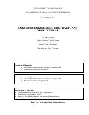 Exam ENGM90006 Eng Contracts and procurement 2012