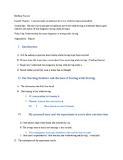 Cell Phone While Driving Essay Outline