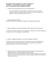Worksheet 3: Classical Model, Consumption