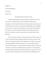 Extra Credit Music History Paper