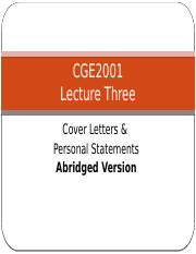 Lecture 3 The Cover Letter & Personal Statment Abridged Version.pptx