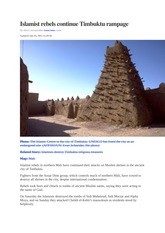 Translation practice1_Islamist rebels continue Timbuktu rampage