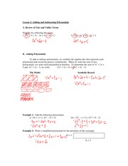 3.3 Adding and Subtracting Polynomials