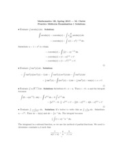 Math 1B - Spring 2013 - Christ - Midterm 1 (practice solution)