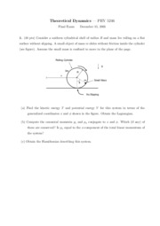 Sample Final Exam 2 on Theoretical Dynamics