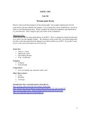 GEOL 1301 - Lab 04 - Metamorphic Rocks.pdf
